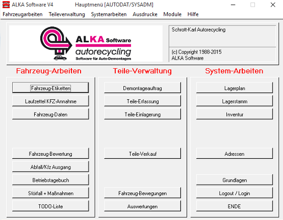 ALKA Autodemontage-Software